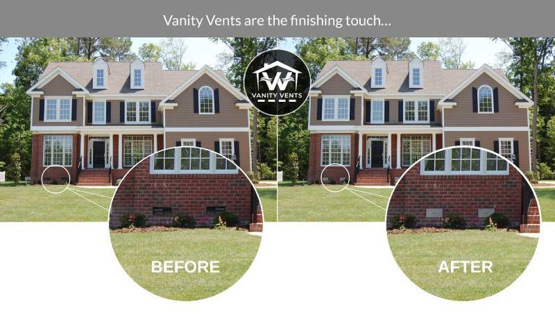 Before and After Vanity Vent Crawl Space Vent Covers
